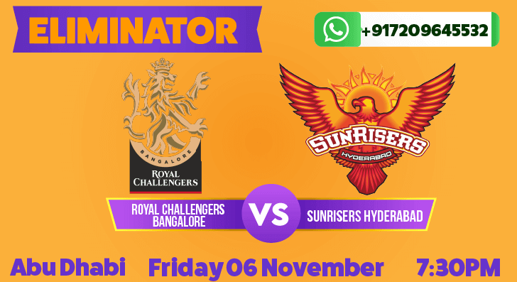 IPL Eliminator: Sunrisers Hyderabad vs Royal Challengers Betting Tips & Predictions November 6th 2020