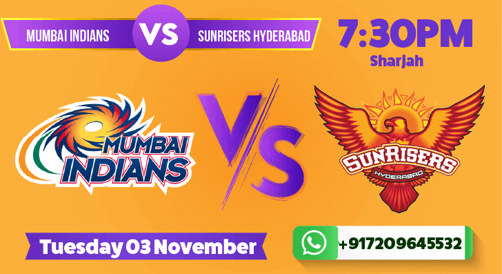 Sunrisers Hyderabad vs Mumbai Indians Betting Tips & Predictions November 3rd 2020
