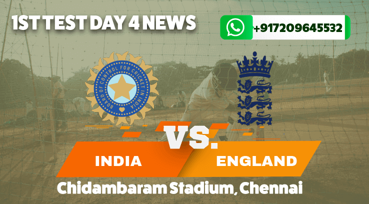 England Set India 420 runs to win the first test in Chennai