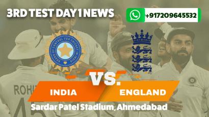 India vs England Third Test Day 1 News
