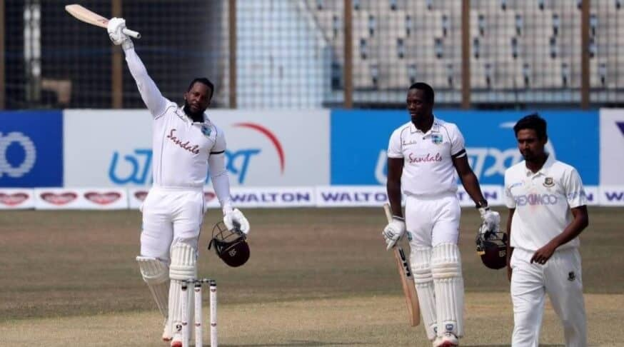 Kyle Mayer with his fellow Windies teammates as they secure the first test victory against Bangladesh