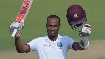 Kraigg Brathwaite playing test cricket for the West Indies. He's taking over as the Test team's new skipper