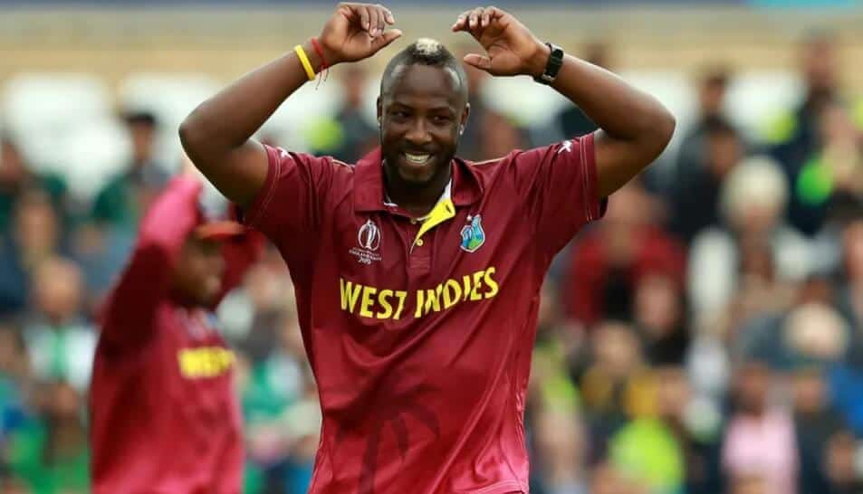 Andre Russell kitted out and playing for the West Indies