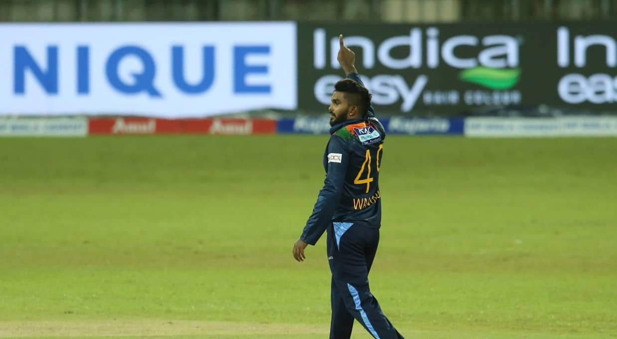 Wanindu Hasaranga of Sri Lanka picked up 4 wickets in the final T20I to help beat India 2-1 in the T20I Series